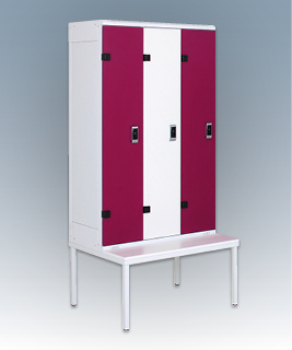 3-door clothes lockers with a seat