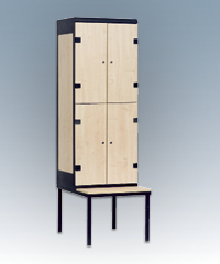 4-box clothes lockers with a seat
