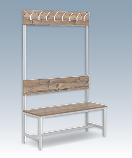 One-sided cloakroom bench with hooks